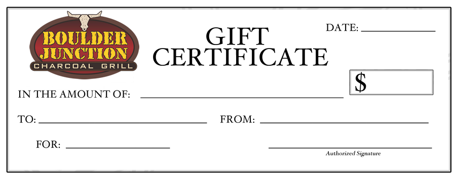 Boulder Junction Charcoal Grill Gift Certificates
